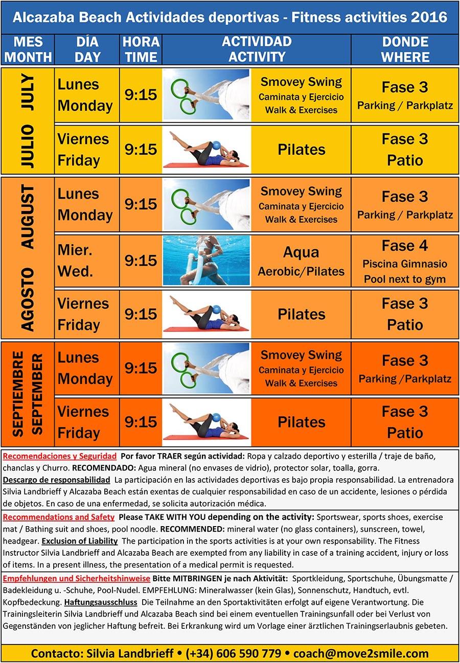 Sports activities calendar Summer 2016